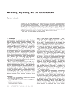 Mie theory, Airy theory, and the natural rainbow