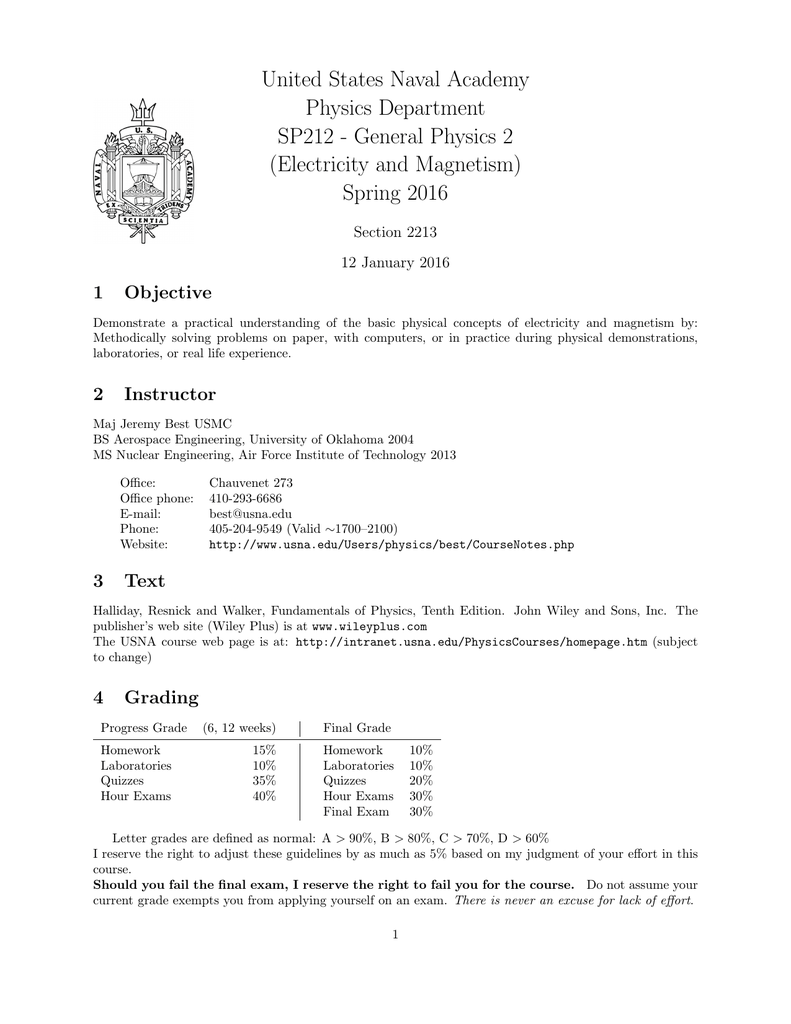 United States Naval Academy Physics Department SP212