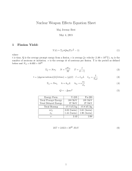 Nuclear Weapon Effects Equation Sheet 1 Fission Yield: Maj Jeremy Best