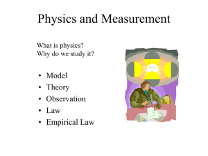 Physics and Measurement • Model • Theory • Observation