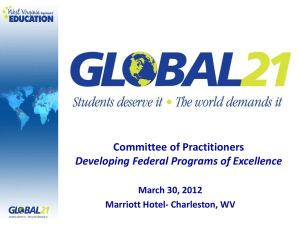 Committee of Practitioners Developing Federal Programs of Excellence March 30, 2012