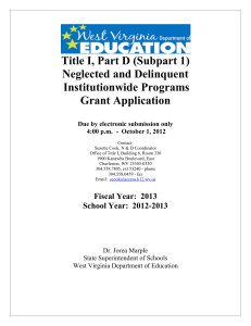 Title I, Part D (Subpart 1) Neglected and Delinquent Institutionwide Programs Grant Application
