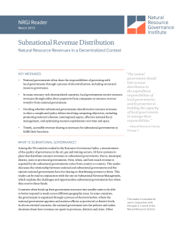 Subnational Revenue Distribution NRGI Reader Natural Resource Revenues in a Decentralized Context