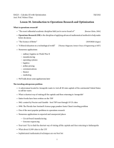 Lesson 30. Introduction to Operations Research and Optimization