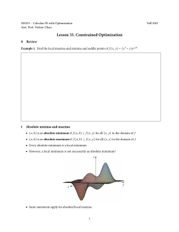 Lesson 33. Constrained Optimization 0 Review