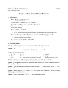 Exam 1 – Information and Review Problems 1 Information