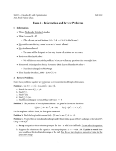 Exam 2 – Information and Review Problems 1 Information