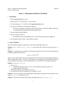 Exam 3 – Information and Review Problems 1 Information