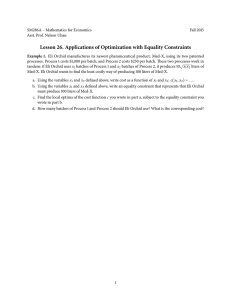 Lesson 26. Applications of Optimization with Equality Constraints