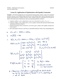 Lesson ��. Applications of Optimization with Equality Constraints