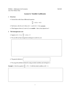 Lesson 12. Variable Coefficients 1 Overview