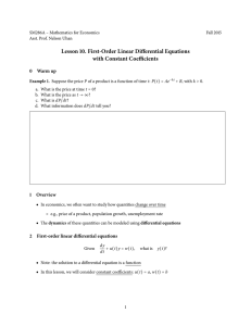 Lesson 10. First-Order Linear Differential Equations with Constant Coefficients 0 Warm up