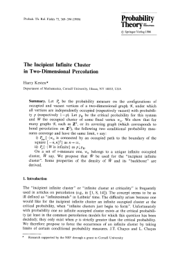 Probability Theory - The  Incipient  Infinite  Cluster