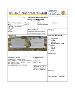 USNA Cemetery Documentation Project Cemetery Inventory Form Summer 2005 Name: