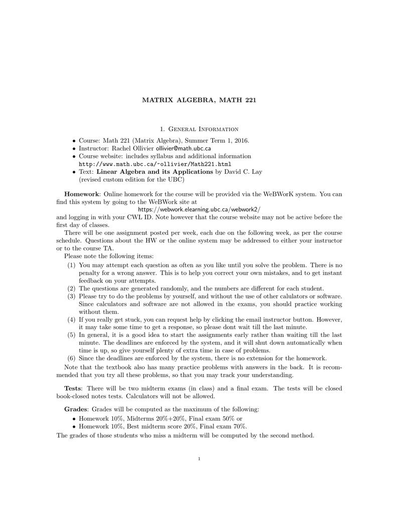 MATRIX ALGEBRA, MATH 221 1  General Information