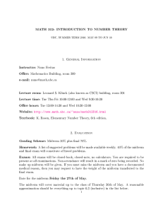 MATH 312: INTRODUCTION TO NUMBER THEORY 1. General Information Instructor: Nuno Freitas