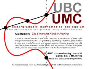 UMC UBC The Congruent Number Problem