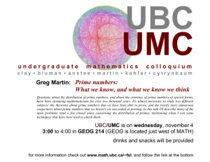 UMC UBC Prime numbers: What we know, and what we know we think