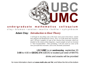 UMC UBC Introduction to Knot Theory