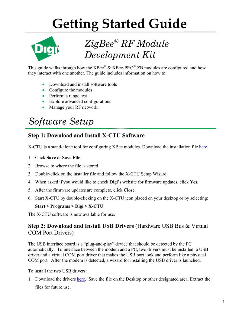 Getting Started Guide ZigBee RF Module Development Kit
