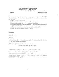 UBC Mathematics 152 Section 206 Midterm Exam I (Feb 10, 2012) Answers