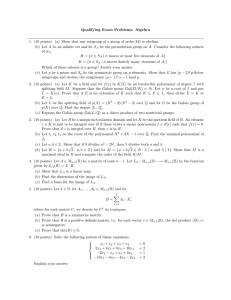 Qualifying Exam Problems: Algebra