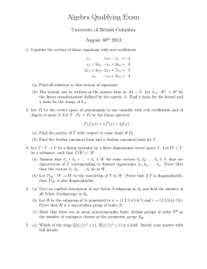 Algebra Qualifying Exam University of British Columbia August 30 2013