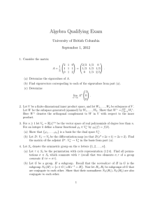 Algebra Qualifying Exam University of British Columbia September 1, 2012