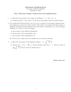 Mathematics Qualifying Exam University of British Columbia September 2, 2011