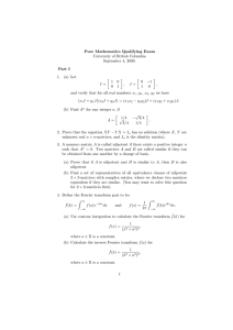 Pure Mathematics Qualifying Exam University of British Columbia September 4, 2009. Part I