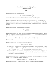 Pure Mathematics Qualifying Exam January 7, 2006 Part I