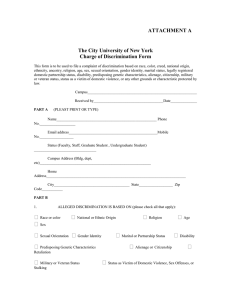 ATTACHMENT A The City University of New York Charge of Discrimination Form