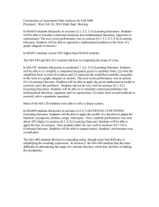 Conclusions of Assessment Data Analysis for Fall 2009