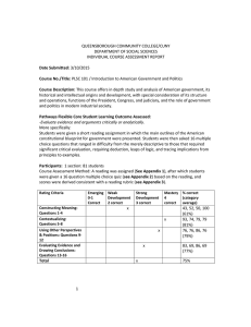 QUEENSBOROUGH COMMUNITY COLLEGE/CUNY DEPARTMENT OF SOCIAL SCIENCES INDIVIDUAL COURSE ASSESSMENT REPORT