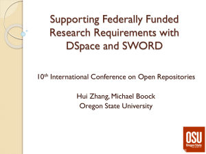 Supporting Federally Funded Research Requirements with DSpace and SWORD 10