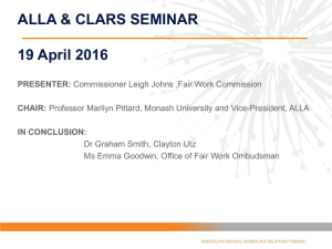 ALLA & CLARS SEMINAR 19 April 2016 PRESENTER: CHAIR: