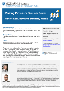 Visiting Professor Seminar Series Athlete privacy and publicity rights