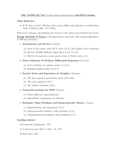 UBC MATH 257/316 Partial Differential Equations 2014WT2 Outline Main Reference: