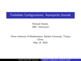 Forbidden Configurations: Asymptotic bounds