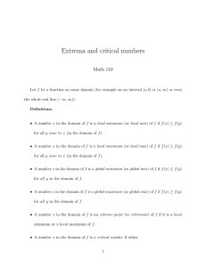 Extrema and critical numbers Math 110