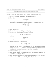 Fields and Galois Theory, Math 422-501 February 2015