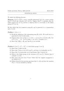 Fields and Galois Theory, Math 422-501 March 2015 Solvability by radicals