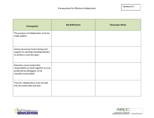 Handout # 1 Prerequisites for Effective Collaboration