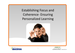 Establishing Focus and Coherence- Ensuring Personalized Learning 1