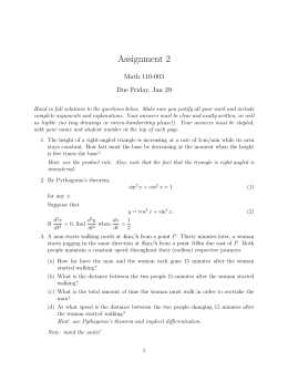 Assignment 2 Math 110-003 Due Friday, Jan 29
