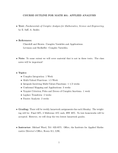 COURSE OUTLINE FOR MATH 301: APPLIED ANALYSIS