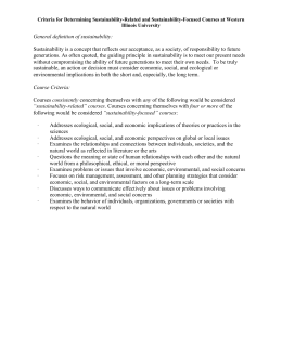 Criteria for Determining Sustainability-Related and Sustainability-Focused Courses at Western Illinois University