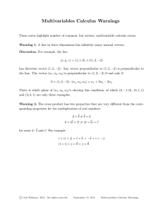 Multivariables Calculus Warnings