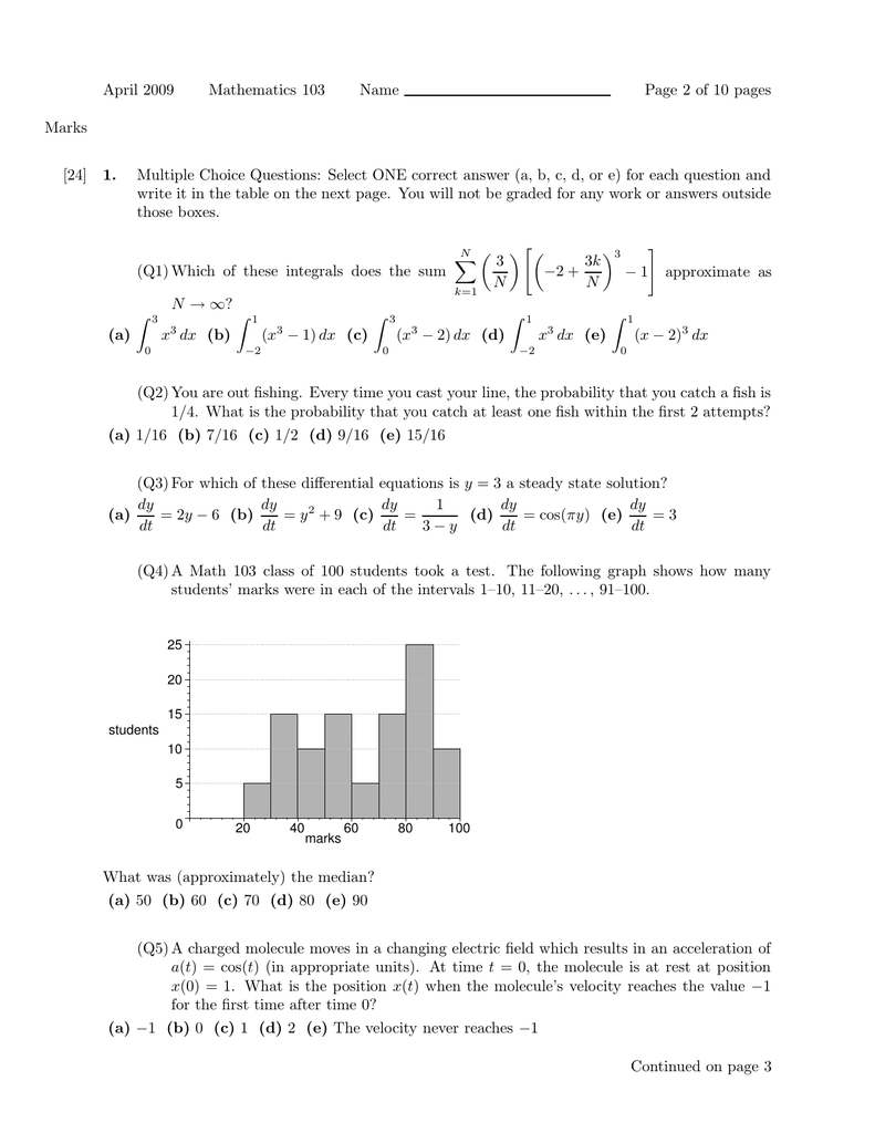 April 2009 Mathematics 103 Name Page 2 of 10 pages