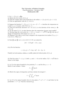 The University of British Columbia Final Examination - December, 2010 Mathematics 200 1